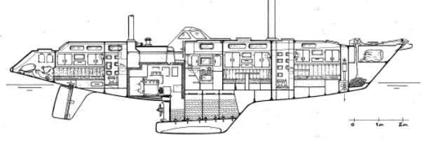 Section through Super Maramu 2000, AMEL 53, Rhumb Runner
